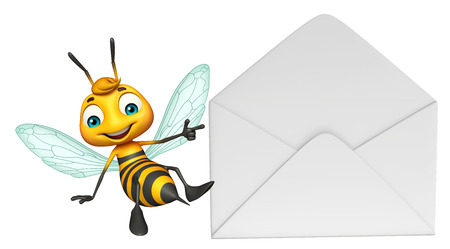 3d rendered illustration of Bee cartoon character with mail Stock Photo