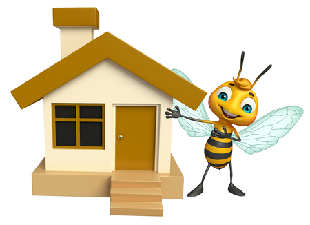 3d rendered illustration of Bee cartoon character with home Stock Photo