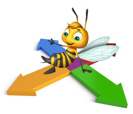 3d rendered illustration of Bee cartoon character with arrow Stock Photo