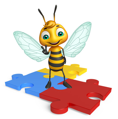 3d rendered illustration of Bee cartoon character with puzzle