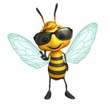 eyewear fashion: 3d rendered illustration of Bee cartoon character with sunglass Stock Photo