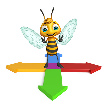 arrowhead: 3d rendered illustration of Bee cartoon character with arrow Stock Photo