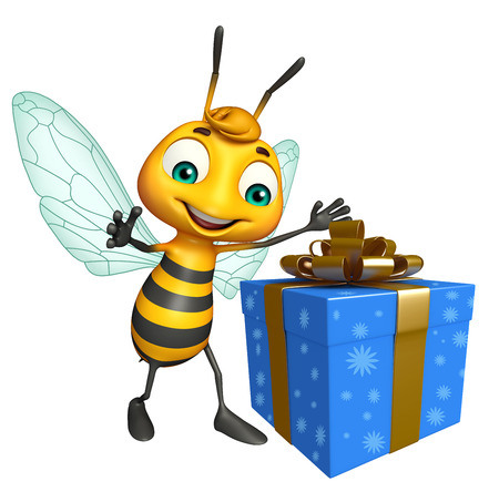 birthday present: 3d rendered illustration of Bee cartoon character with gift box Stock Photo