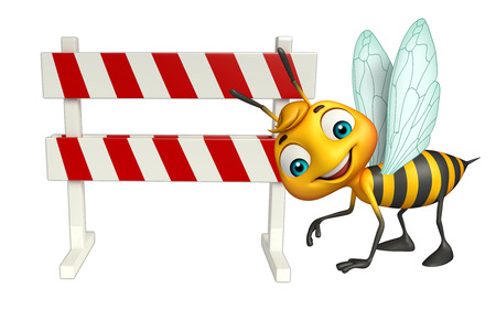 constuction: 3d rendered illustration of Bee cartoon character with baracades Stock Photo