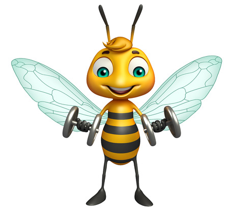 iron fun: 3d rendered illustration of Bee cartoon character with Gim equipment