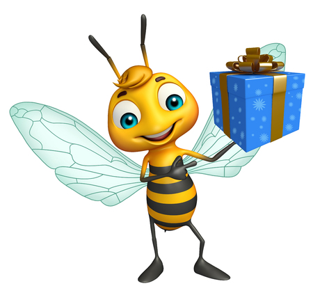 bee party: 3d rendered illustration of Bee cartoon character with gift box Stock Photo