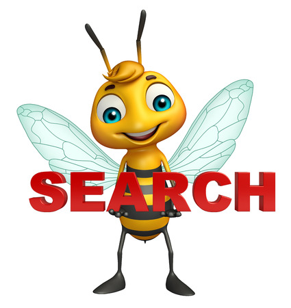 3d rendered illustration of Bee cartoon character with search sign