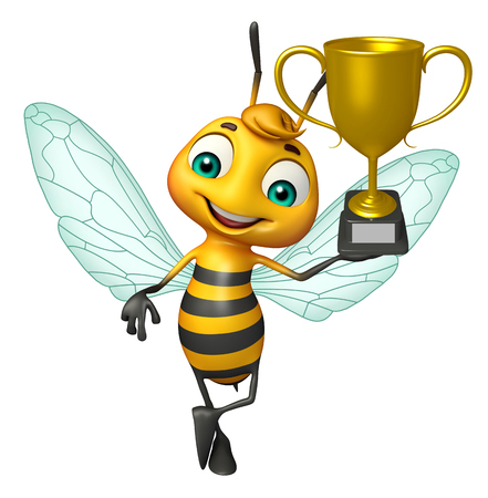 3d rendered illustration of Bee cartoon character with winning cup Фото со стока