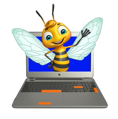 3d rendered illustration of Bee cartoon character with laptop Фото со стока