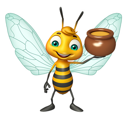 honey pot: 3d Rendered illustration of Bee cartoon character with honey pot