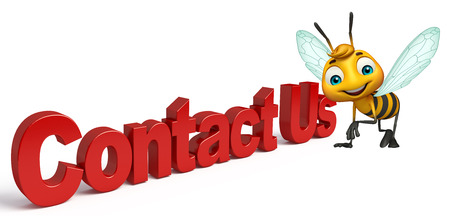 contact us sign: 3d rendered illustration of Bee cartoon character with contact us sign