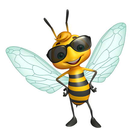protective eyewear: 3d rendered illustration of Bee cartoon character with sunglass Stock Photo