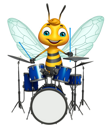 3d rendered illustration of Bee cartoon character with drum Stock Photo