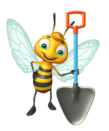 digging: 3d rendered illustration of Bee cartoon character with digging shovel
