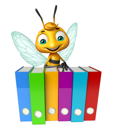 organize: 3d rendered illustration of Bee cartoon character with files
