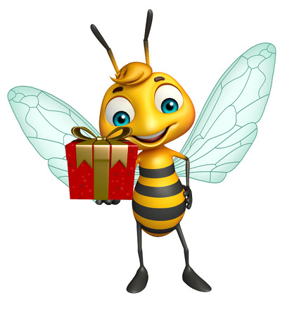 bee birthday party: 3d rendered illustration of Bee cartoon character with gift box Stock Photo
