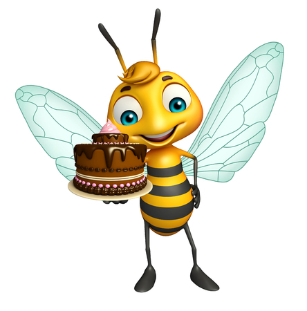 savoury: 3d rendered illustration of Bee cartoon character with cake