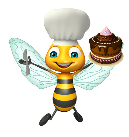 bee birthday party: 3d rendered illustration of Bee cartoon character with cake