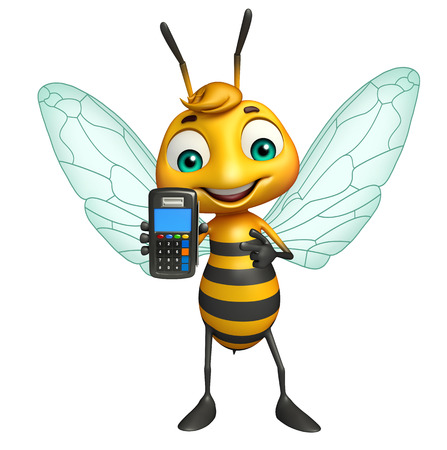 3d rendered illustration of Bee cartoon character with swap machine Фото со стока