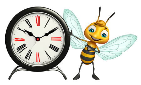 3d rendered illustration of Bee cartoon character with clock