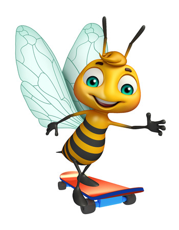 3d rendered illustration of Bee cartoon character with skateboard