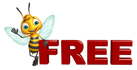 3d rendered illustration of Bee cartoon character with free sign
