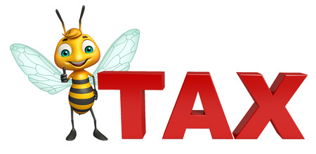 obligation: 3d rendered illustration of Bee cartoon character with tax sign