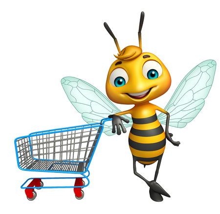 trolly: 3d rendered illustration of Bee cartoon character with trolly