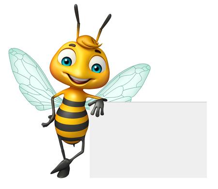 ホワイト ボードと蜂の漫画のキャラクターの 3 d レンダリングされたイラストレーション