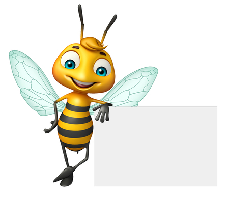 3d rendered illustration of Bee cartoon character with white board Фото со стока