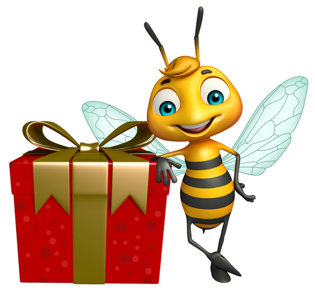 3d rendered illustration of Bee cartoon character with gift box Stock Photo