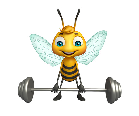 3d rendered illustration of Bee cartoon character with Gim equipment