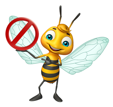 drive ticket: 3d rendered illustration of Bee cartoon character with stop sign