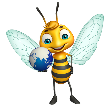 3d rendered illustration of Bee cartoon character with earth Фото со стока