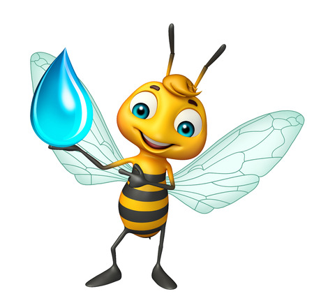 3d rendered illustration of Bee cartoon character with water drop