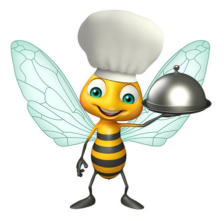 シェフ帽子クロッシュと蜂の漫画のキャラクターの 3 d レンダリングされたイラストレーション 写真素材
