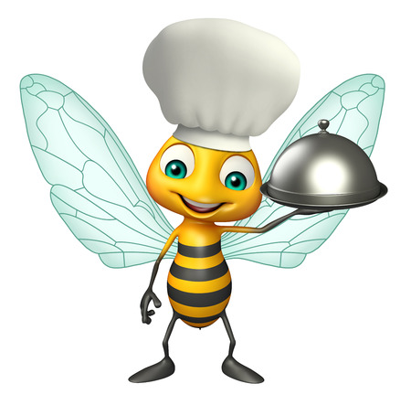 3d rendered illustration of Bee cartoon character with chef hat and cloche Фото со стока