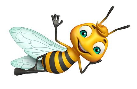 funny cartoon: 3d rendered illustration of Bee funny cartoon character