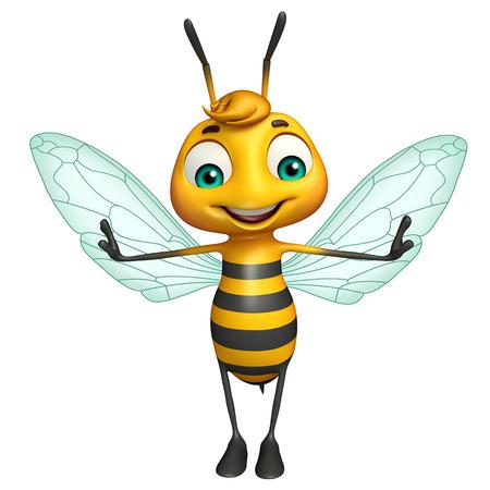 abeja caricatura: 3d rindió la ilustración de personaje de dibujos animados divertido de la abeja