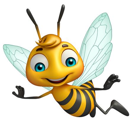 蜂の面白い漫画のキャラクターの 3 d レンダリングされたイラストレーション 写真素材