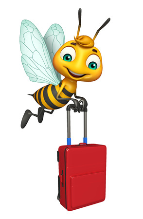 packing suitcase: 3d rendered illustration of Bee cartoon character with travel bag Stock Photo
