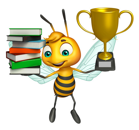 3d rendered illustration of Bee cartoon character with book stack and winning cup Фото со стока