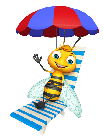 3d rendered illustration of Bee cartoon character with beach chair