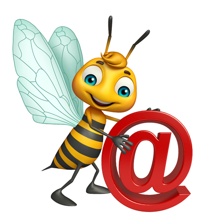 3d rendered illustration of Bee cartoon character with at the rate sign