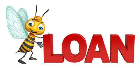 3d rendered illustration of Bee cartoon character with loan sign Stock Photo