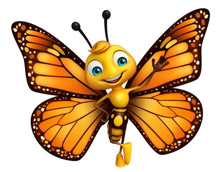 面白い蝶の漫画のキャラクターの 3 d レンダリングされたイラストレーション