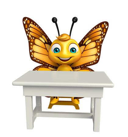 バタフライ テーブルと椅子のある漫画のキャラクターの 3 d レンダリングされたイラストレーション