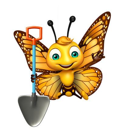 シャベルと蝶の漫画のキャラクターの 3 d レンダリングされたイラストレーション