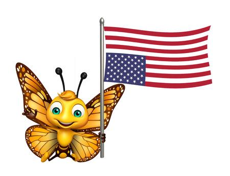 フラグと蝶の漫画のキャラクターの 3 d レンダリングされたイラストレーション 写真素材 - 53097226
