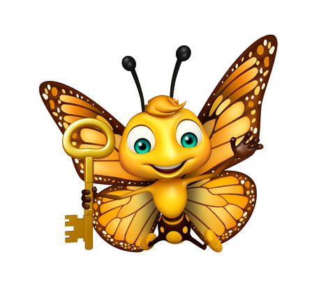 3d rendered illustration of Butterfly cartoon character with key Stok Fotoğraf